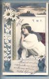 AX 487 CP VECHE-TANARA IN TINUTA DE EPOCA-STAMPILA 1903-SCRIERE SI TIMBRU BULGAR, Necirculata, Printata