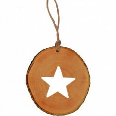 Decoratiune de craciun New Way Decor - Stea din felie de lemn
