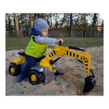 Camion pentru copii cu excavator rotativ Pick Up fara pedale galben 75 x 36 x 80 cm
