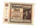 Bancnota Germania 5000 mark 1922, stare buna