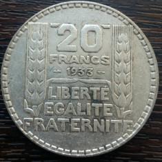 (A26) MONEDA DIN ARGINT FRANTA - 20 FRANCS 1933, 20 GRAME, PURITATE 680/1000