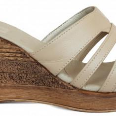 Papuci de dama din piele cu talpa ortopedica Ninna Art 178 bej