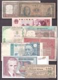 Lot 8 bancnote straine circulate si un cupon
