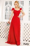 Rochie de seara lunga Fofy rosie din tripluvoal