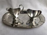 Set argintat format din tavita cu letiera si zaharnita