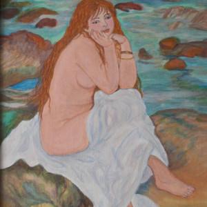 Reproducere RENOIR, in culori acrilice, Seated Nude, 30x40 cm, rama din lemn