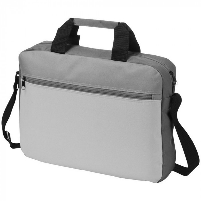 Geanta documente cu buzunar frontal, bretea ajustabila, Everestus, TS02, poliester 600D, gri, saculet si eticheta bagaj incluse