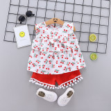Costumas pentru fetite cu bluzita cu cirese