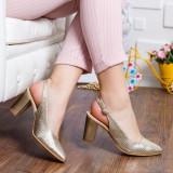 Pantofi Piele Venice aurii decupati