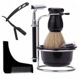 Set kit complet aparat barbierit ras brici inoxidabil pamatuf bol piaptan barba