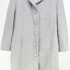 Palton stil office gri, stofa pufoasa din casmir 100%