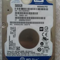 Hard disk laptop 500GB, HDD SATA 2.5 Western Digital WD5000LPVX 2, 5400 rpm OK