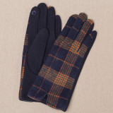 Cumpara ieftin Manusi dama, textil cu fata ecosez predominant bleumarine