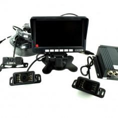 Sistem DVR kit monitor senzor parcare + 4 camere cu functie de inregistrare turism/camion 12V-24V. Lungime cablu fata 5m, cablu stanga/dreapta 15m si