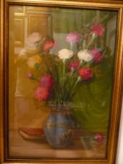 Tablou vechi-Flori in vaza-Leon Alexandru Biju foto