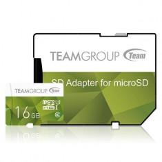 Card de memorie TeamGroup Micro SDHC 16GB UHS-I + Adaptor Verde