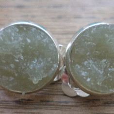 Cercei clips baza cromata -  imitatie de geoda gri
