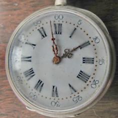 B156-C-Ceas buzunar argint antic cheie spate 10 rubis perioada 1800.