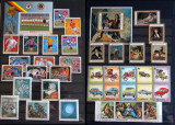 Clasor 815 timbre straine nestampilate + 40 colite + 17 blocuri, serii complete