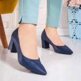 Pantofi cu toc dama albastri Gisalia