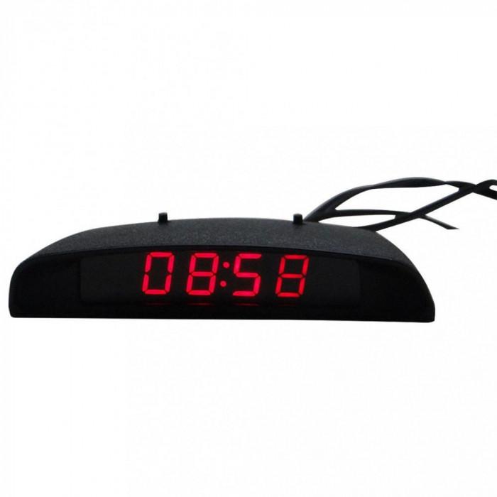Termometru + voltmetru + ceas digital, leduri rosii, conectare la priza, auto