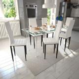 Cumpara ieftin Scaune de bucătărie 6 buc, design suplu, alb