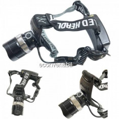 Lanterna Frontala LED 3W cu Acumulatori 18650, Zoom, 220V