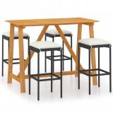 Set mobilier bar de grădină cu perne, 5 piese, negru, vidaXL