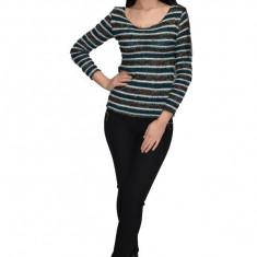 Bluza tricotata,model multicolor ,nuanta de verde