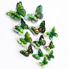 Fluturi 3D magnet, dubli, decoratiuni casa, evenimente, 12 bucati, verde, A11