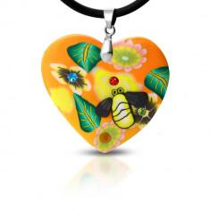 Colier FIMO - inimă portocalie cu flori și albină
