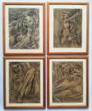 4 tablouri Nuduri anii 70 grafica in carbune și creion înrămate 27x32cm