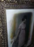 Tablou vechi cu rama si fotografie antica,51 cm /41 cm-int.40 cm/30 cm,T.GRATUIT