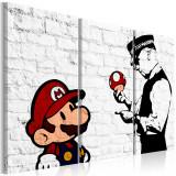 Tablou canvas 3 piese - Mario Bros (Banksy) - 90x60 cm, Artgeist