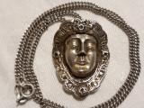 MEDALION argint MASCA VENETIANA vechi RAR splendid EXCEPTONAL pe Lant argint