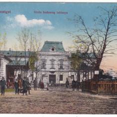 # 2320 - Ro, Sighetu Marm. carte postala cenz. circulata 1917: Cazarma, animat, Fotografie, Sighetu Marmatiei