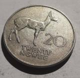 238. Moneda Zambia 20 ngwee 1972