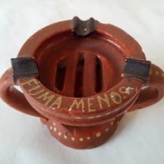 Scrumiera ceramica pictata  veche vintage