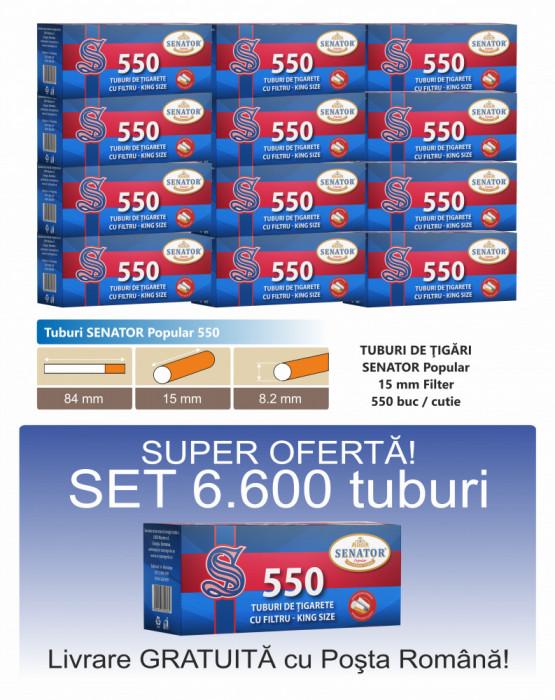 Ofertă! 6.600 Tuburi de tigari cu filtru maro SENATOR 550 pentru injectat tutun