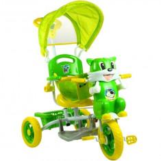 Tricicleta pentru copii cu efecte sonore, pisica, verde