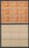 ROMANIA 1945 uzuale Mihai I 80 LEI eroare LE in centrul unui bloc de 9 MNH, Istorie, Nestampilat