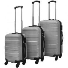 Set valize rigide argintii, 3 buc.