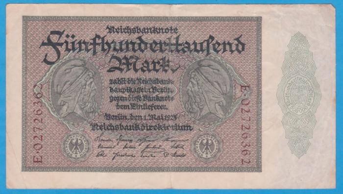(6) BANCNOTA GERMANIA - 500.000 MARK 1923 (1 MAI 1923), FARA SERIE PE VERSO