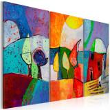 Tablou pictat manual - Peisaj colorat - 3 piese - 120 x 80 cm, Artgeist