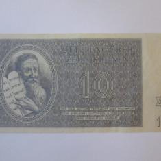 Rara! Ghetoul Terezin/Cehoslovacia 10 Kronen/Coroane 1943 in stare foarte buna