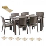 Set exterior gradina MATARANI masa WOOD 90x150x75cm 6 scaune PARIS RATTAN polipropilen/fibra sticla culoare cafea,6 perne scaun,Traversa PANARI 40x150