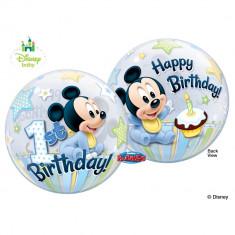 Balon bubble Mickey Mouse 1st Birthday - 56cm, Qualatex 12864