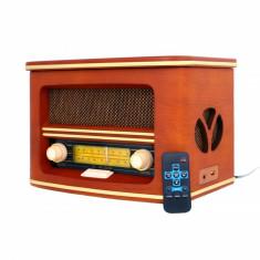 Radio Retro Vintage, Carcasa Lemn, Bluetooth, CD, USB, AUX, Putere 19W, CR 1167