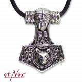 Pandantiv argint Ciocanul lui Thor cu cap de lup K438S