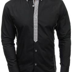 Cămașă elegantă pentru bărbat cu mâneca lungă neagră Bolf 5800, Maneca lunga